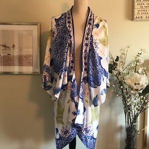 Floral Long Sleeve Kimono, O/S